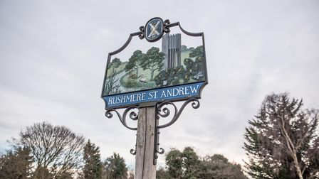 The Rushmere St Andrew sign on the green area off Bladen Drive