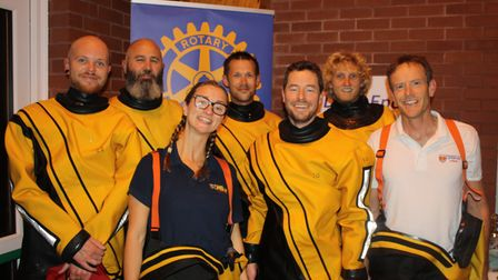 A team from Sidmouth Lifeboat pull on their gear to take on the Swimathon. Picture: Keith Walton