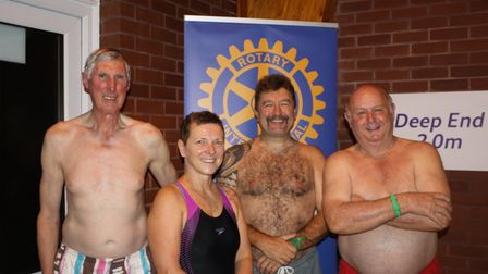 The Rotary Club of Sidmouth pull on their gear to take on the Swimathon. Picture: Keith Walton