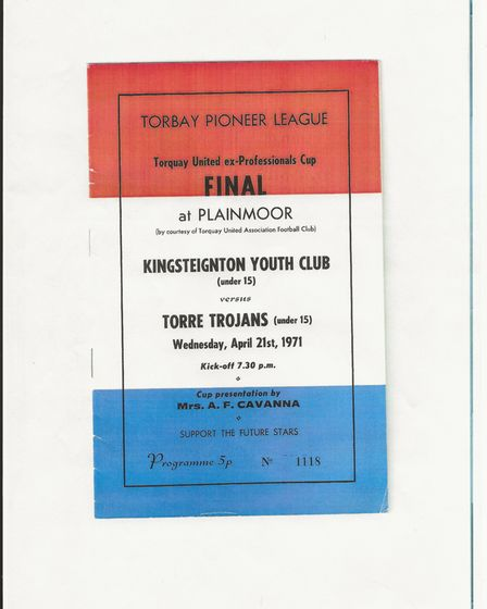 The programme from the Torquay United ex-Professionals Cup final at Plainmoor in April 1971
