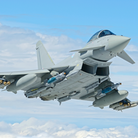 Typhoon jet flying in the air