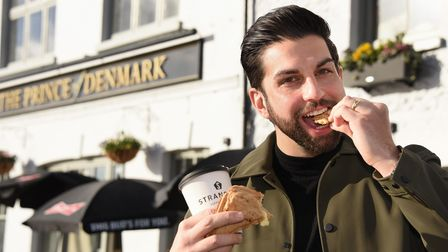 Dan Trivedi, who started the Coffee and Beer House at the Prince of Denmark pub, with his takeaway c