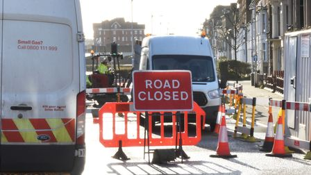 Victoria Terrace in Lowestoft has been closed as Cadent carries out work.
