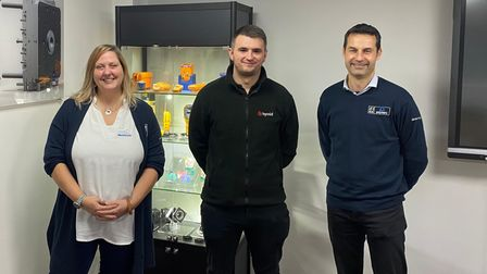 Donna Cook, DCW area development manager, with Huw Davies, supply chain manager at Hymid, and Jason Goozee, commodities...
