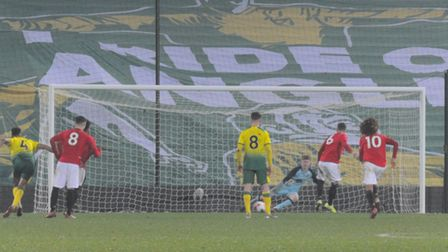 Charlie McCann put United ahead with a penalty early in the second half at Carrow Road Picture: Tony