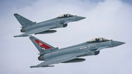 Image of two Typhoon FGR4 aircraft, flown by 29 (R) Squadron from RAF Coningsby.The Typhoon in the