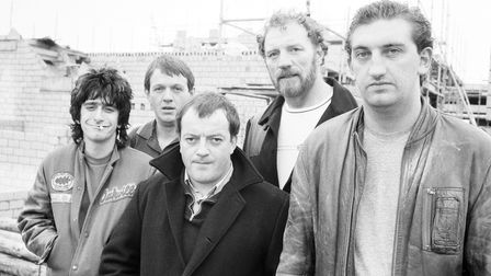 The cast of Auf Wiedersehen, Pet. From left: Gary Holton, Kevin Whately, Tim Healey, Pat Roach and Jimmy Nail