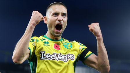 Moritz Leitner celebrates scoring Norwich City's second goal during a dramatic afternoon against Mil