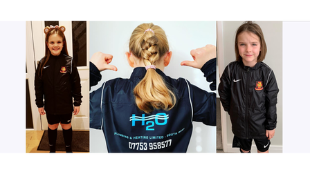 Clevedon United Girls under-nines in their jackets sponsored by Heating Limited South West