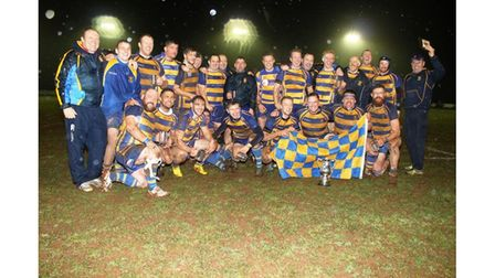 Clevedon celebrate beating Bristol Saracens in the Bristol Combination Vase final