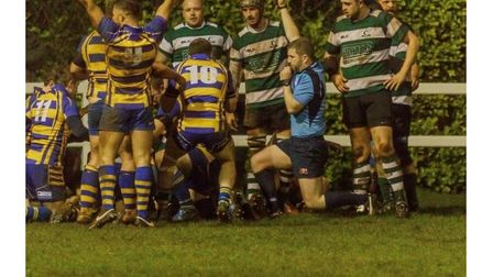 Clevedon celebrate scoring one of their four tries against Bristol Saracens