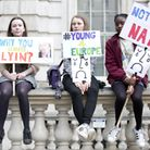 Young anti-Brexit protesters demonstrate against the UK's departure from European Union. Photograph: