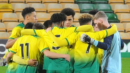 Norwich City U18s ahead of their FA Youth Cup win over Newcastle at Carrow Road Picture: David Freez