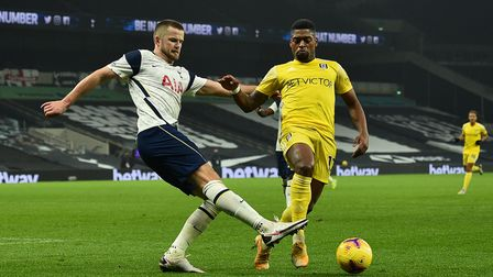 Tottenham Hotspur's Eric Dier (left) and Fulham's Ivan Cavaleiro battle for the ball during the Prem