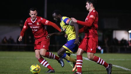 Alfred Bawling of Haringey and Joe Christou of Hornchurch during Hornchurch vs Haringey Borough, Pit