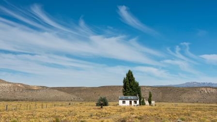 A house in the Pampas lowlands of Chubut, in Argentina