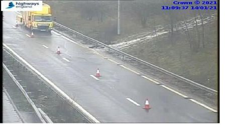 Flooding at Waltham Cross on the M25