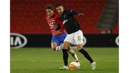 Dimitris Giannoulis, of PAOK FC and Luis Milla, of Granada CF during the UEFA Europa League Group E