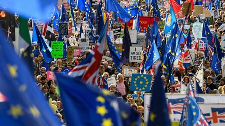 Demonstrators hold placards and EU flags as they take part in a march against Brexit. (Photo by Nikl
