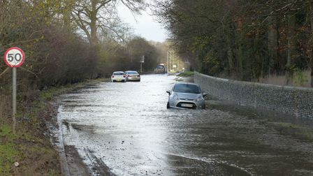 Vehicles on the flooded section of the B1383. Picture: R4U