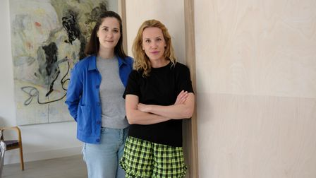 ARC Club founders, Hannah Philp and Caro Lundin in a corridor