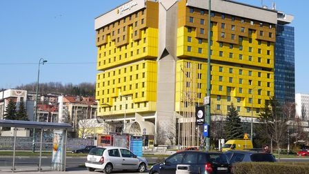Exterior view of the Holiday Inn hotel in Sarajevo, Bosnia
