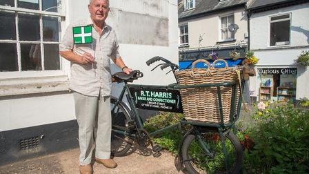 Tour of Britain passes through Ottery St Mary. Former baker, John Harris, with his father's bike who