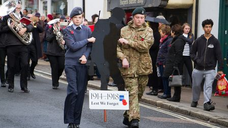 Sidmouth Remembrance day service. Ref shs 46 18TI 4637. Picture: Terry Ife