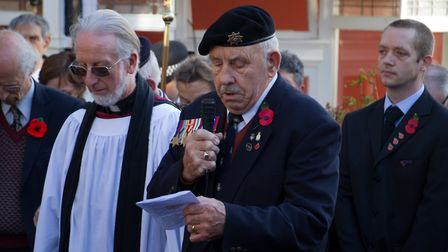 Sidmouth Remembrance day service. Ref shs 46 18TI 4746. Picture: Terry Ife