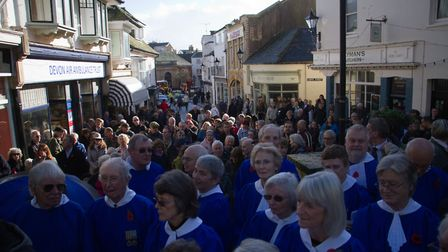 Sidmouth Remembrance day service. Ref shs 46 18TI 4738. Picture: Terry Ife