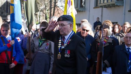 Sidmouth Remembrance day service. Ref shs 46 18TI 4731. Picture: Terry Ife