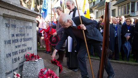 Sidmouth Remembrance day service. Ref shs 46 18TI 4725. Picture: Terry Ife