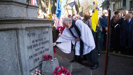Sidmouth Remembrance day service. Ref shs 46 18TI 4724. Picture: Terry Ife