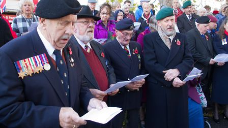 Sidmouth Remembrance day service. Ref shs 46 18TI 4718. Picture: Terry Ife