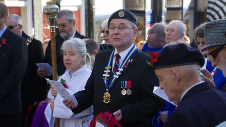 Sidmouth Remembrance day service. Ref shs 46 18TI 4716. Picture: Terry Ife