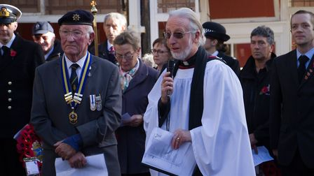 Sidmouth Remembrance day service. Ref shs 46 18TI 4715. Picture: Terry Ife