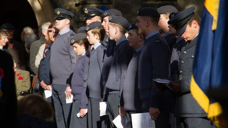 Sidmouth Remembrance day service. Ref shs 46 18TI 4714. Picture: Terry Ife