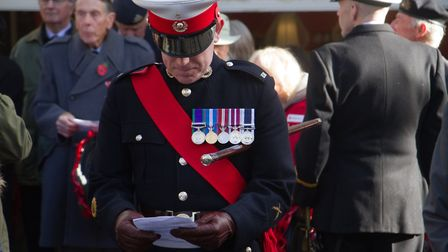 Sidmouth Remembrance day service. Ref shs 46 18TI 4712. Picture: Terry Ife