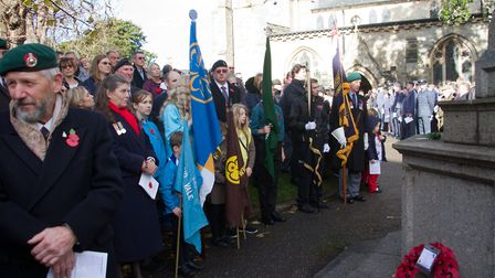 Sidmouth Remembrance day service. Ref shs 46 18TI 4711. Picture: Terry Ife
