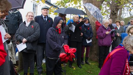 Sidmouth Remembrance day service. Ref shs 46 18TI 4704. Picture: Terry Ife