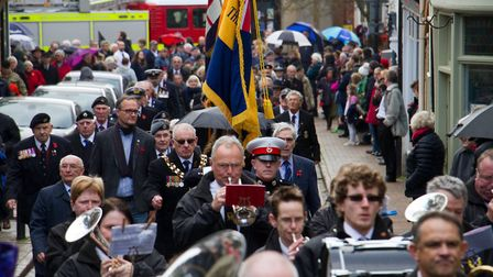 Sidmouth Remembrance day service. Ref shs 46 18TI 4697. Picture: Terry Ife