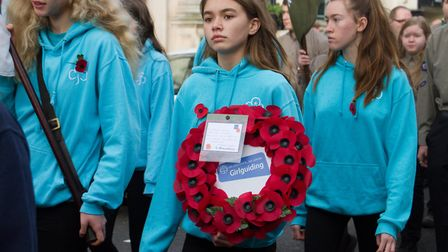 Sidmouth Remembrance day service. Ref shs 46 18TI 4685. Picture: Terry Ife