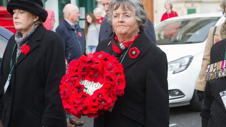Sidmouth Remembrance day service. Ref shs 46 18TI 4674. Picture: Terry Ife
