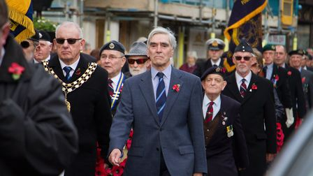 Sidmouth Remembrance day service. Ref shs 46 18TI 4646. Picture: Terry Ife