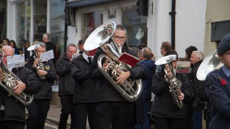 Sidmouth Remembrance day service. Ref shs 46 18TI 4639. Picture: Terry Ife