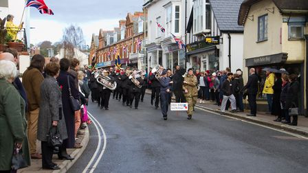 Sidmouth Remembrance day service. Ref shs 46 18TI 4636. Picture: Terry Ife