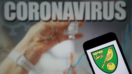 The Norwich City Football Club logo seen displayed on a mobile phone with a Coronavirus illustration
