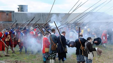 Armed Forces Day in Felixstowe, at Landguard Fort for a thrilling re-enactment of the Battle of Landguard between the Dutch and English