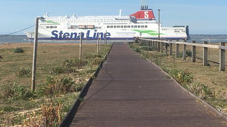 A Stena Line vessel leaving Harwich Harbour seen from the boardwalk leading to Landguard Point Pict