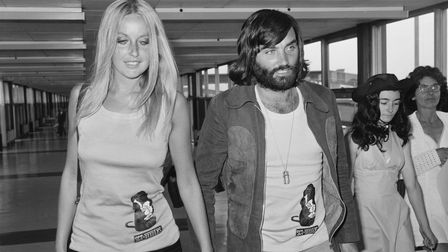 George Bestwithgirlfriend, Swedish actress and model Mary Stavin, at Heathrow Airport in 1973, the year before he signed...